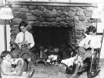 Lodge:  Fireplace as it was and still is.